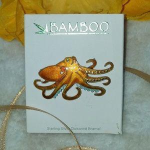 Bamboo Jewelry sterling silver enamel octopus NWOT